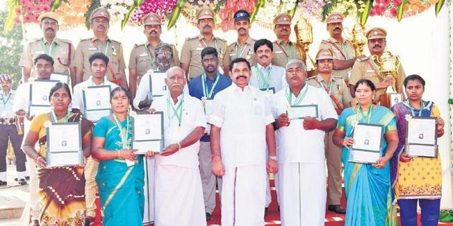 Chief Minister Edappadi K Palaniswami with the recipients of the special awards and Anna Medals