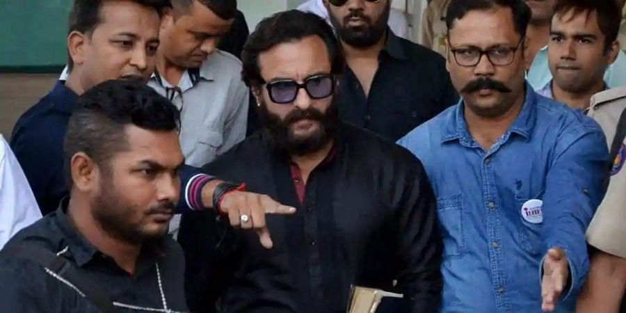 Actor Saif Ali Khan leaves Jodhpur airport to appear in the chief judicial magistrate court in the 1998 Blackbuck hunting case, in Jodhpur.
