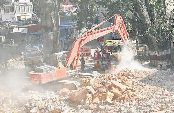Anjaneya temple pulled down to make way for road
