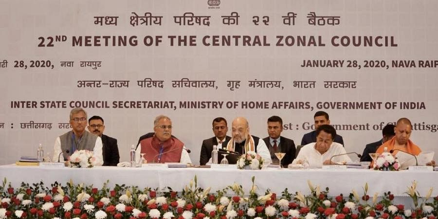 Union Home Minister Amit Shah presiding over 22nd meeting of the Central Zonal Council progressing at Raipur. (Photo | Twitter)