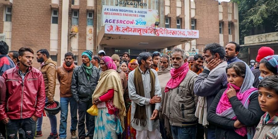 Family members and relatives of their infant children wait outside the JK Lone hospital in Kota district Thursday Jan. 2 2020. (Photo   PTI)