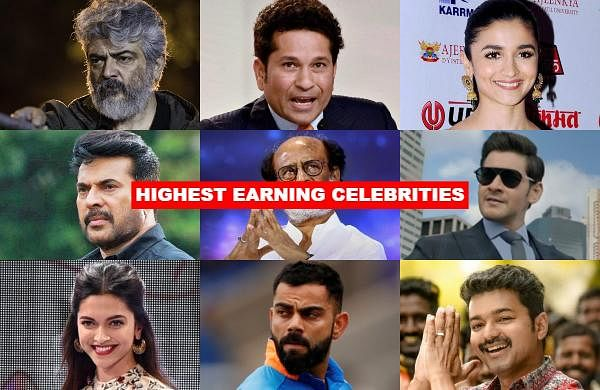 Let us take a look at the Forbes list of the top 50 highest earningIndian celebrities.