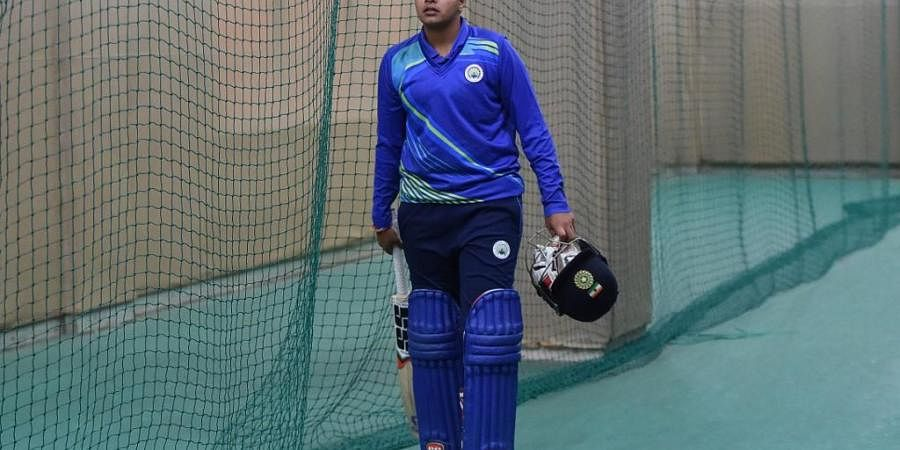 16-year-old cricket player Shafali Verma trains at an indoor net inside a stadium in Rohtak. (Photo | AFP)
