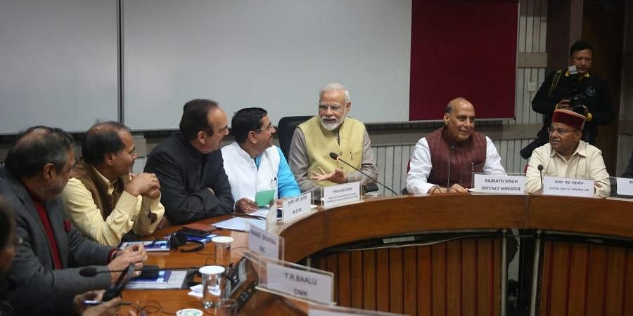 Prime minister Narendra Modi, Congress leader Gilam Nabi azad Rajnath singh, and others during the  All Party meeting called parliamentary affairs minister, ahead of Budget session which begins at Parliament library building in New Delhi on Thursday.
