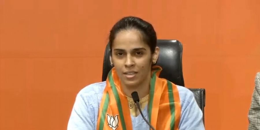 Badminton player Saina Nehwal speaks to the press in New Delhi on Wednesday.