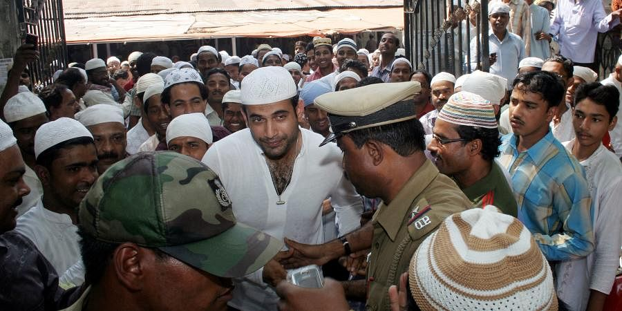 Irfan Pathan of Kings XI Punjab coming out of Jama Masjid after Friday prayer in Bhubaneswar.