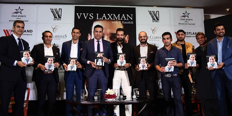 Former cricketers (from second left) Virendra Sehwag, Ashish Nehra, VVS Laxman, Irfan Pathan, Murali Karthik, Gautam Gambhir, Harbhajan Singh, Ajay Jadeja and others during launch the Laxman's autobiography 281 and Beyond, in New Delhi.