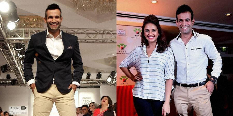 Indian cricketer Irfan Pathan along with actress Huma Qureshi during an event in Mumbai (R) and him at the Lakme Fashion Week Summer Resort 2015.