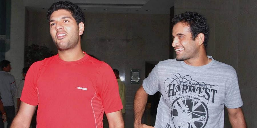Indian cricketers Yuvraj Singh and Irfan Pathan coming out from team meeting in Mumbai.