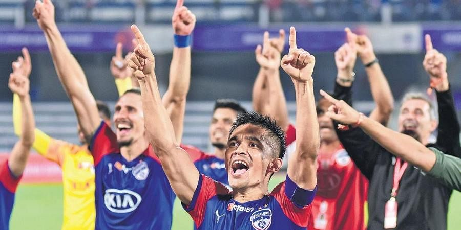 Sunil Chhetri & Co rejoice after the end of match on Friday.