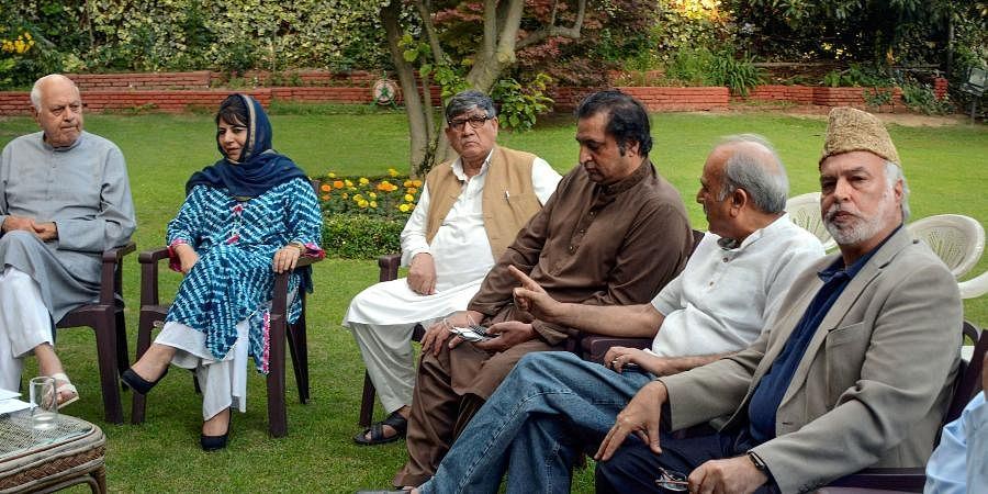 NC president Farooq Abdullah, PDP chief Mehbooba Mufti and other leaders during an all party meeting.