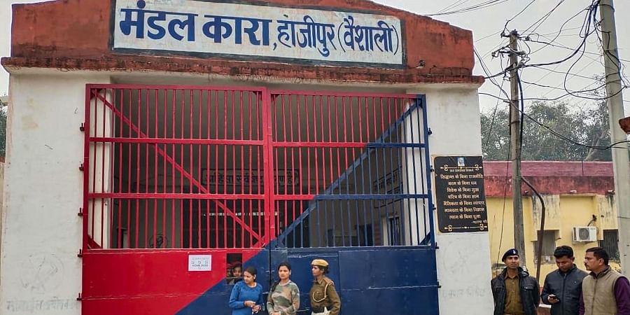 Police guard outside Hajipur Jail after criminals shot a prisoner inside the jail on Friday