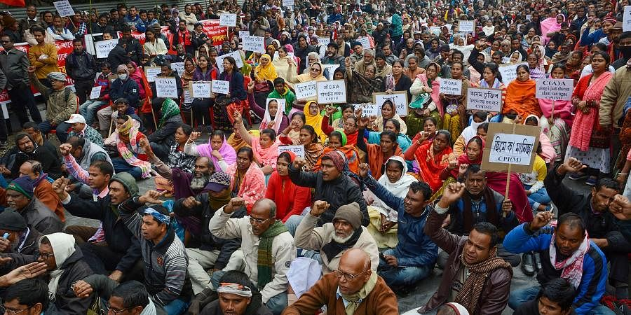 Left parties' activists and supporters take part in a protest rally against the amended Citizenship Act in Guwahati Friday