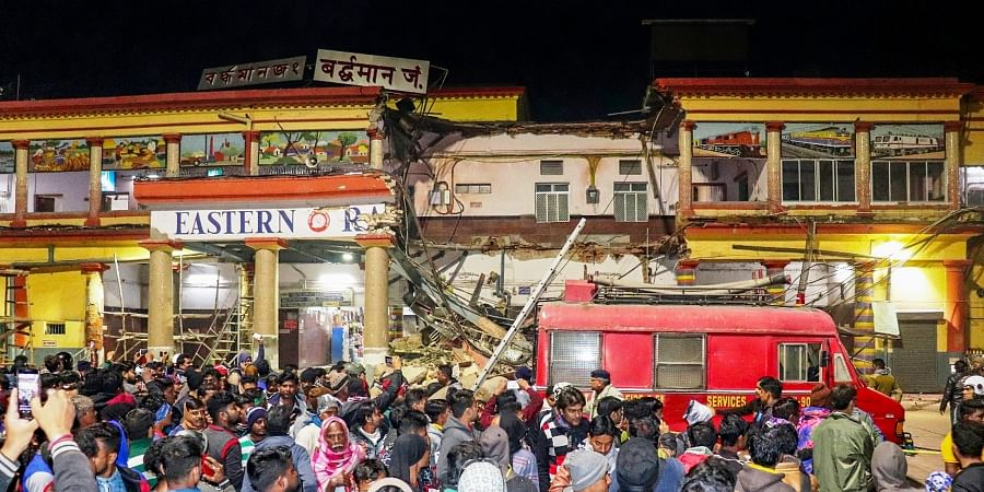 A portion of the Barddhaman Railway station building collapsed in Burdwan district of West Bengal Saturday Jan. 4 2020. (Photo | PTI)
