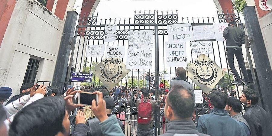 Students of Jamia Millia Islamia during the anti-CAA protests