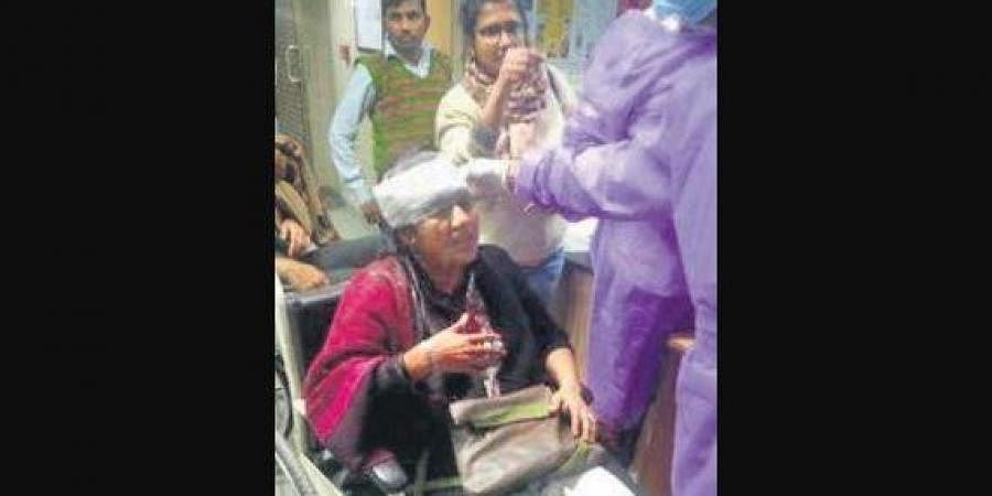 Sucharita Sen, faculty of CSRD JNU being taken to AIIMS.