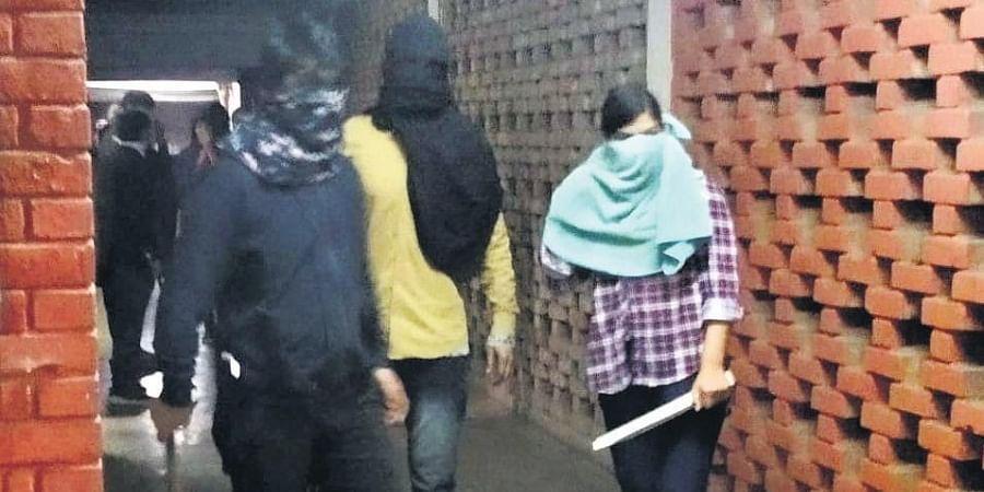 Masked miscreants roaming around JNU campus.