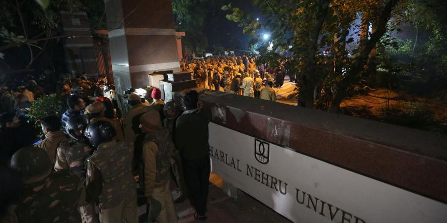Doubts arose about the identity of the miscreants. One student added that around 20 ABVP students gathered in front of Periyar hostel with sticks, bats, rods and wickets shouting 'Bharat Mata ki Jai' and 'Vande Mataram'. Can't say if they were from JNU.'