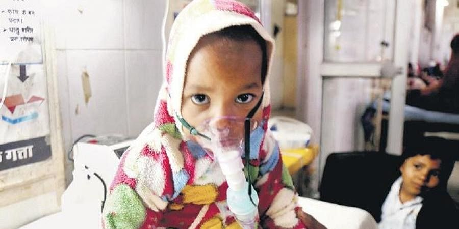A child undergoes treatment at JK Lon hospital, Kota, where at least 100 infants have died in the month of December as per reports.
