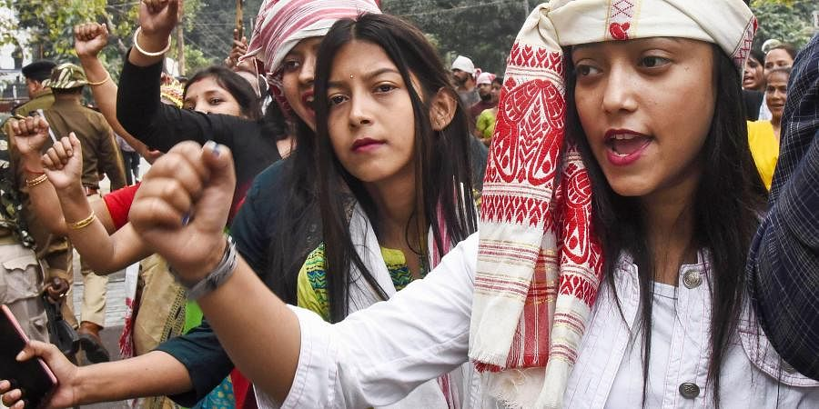 AASU supporters raise slogans during their Gana Saityagrah protest against Citizenship Amendment Act in Guwahati Dec. 16 2019. (Photo | PTI)