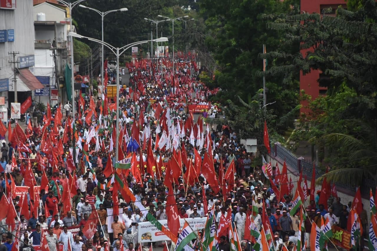 Joint trade union workers taking out a march in  Thiruvananthapuram on Wednesday during the nation wide 24 hours general strike.