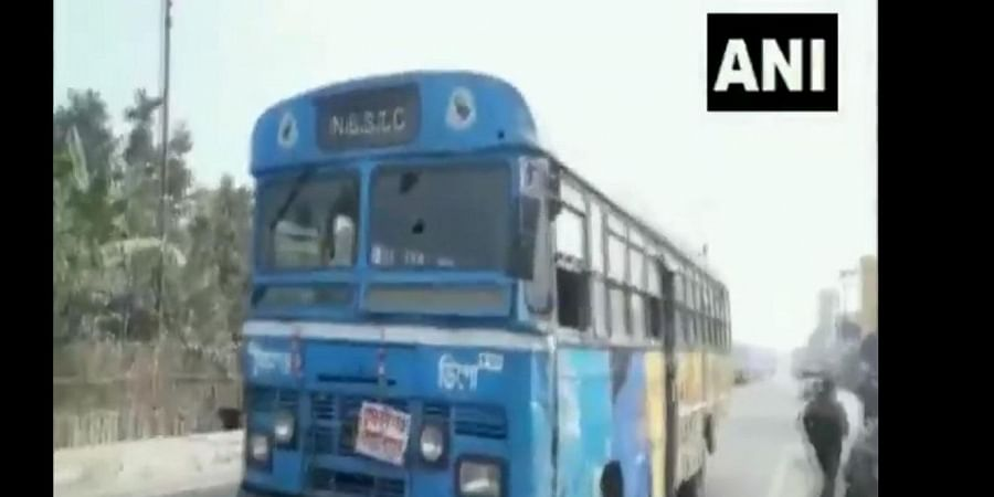 The damaged bus attacked during Bharat Bandh in Cooch Behar