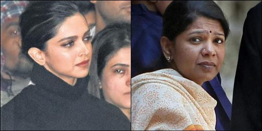 (Left) Deepika Padukone at JNU protesting with the students against the campus violence that broke out on January 5 and (right) DMK leader KanimozhI