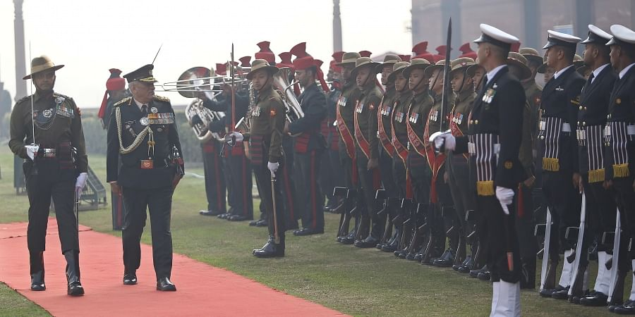 India's first Chief of Defence Staff CDS General Bipin Rawat inspects the Guard of Honour at South Block lawns in New Delhi on Wednesday. (Photo | Arun Kumar P/EPS)