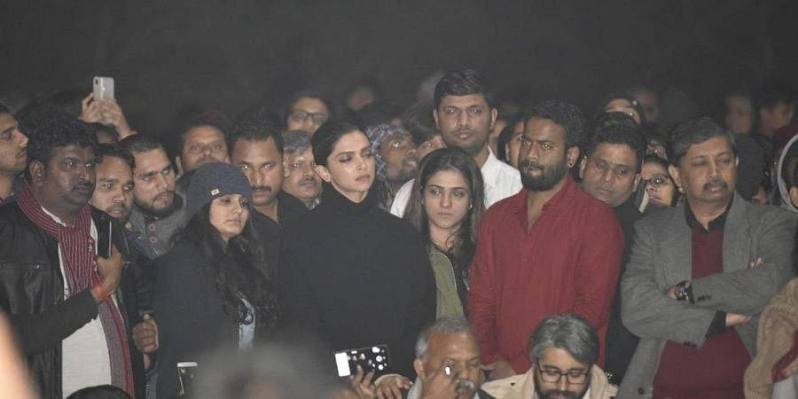 Image result for Photo of Deepika Padukone made a surprise visit to the Jawaharlal Nehru University""