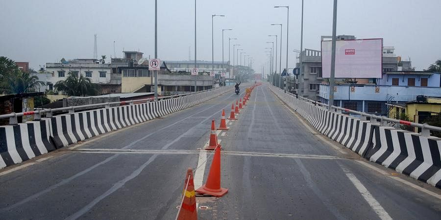 A deserted road during the nationwide Bharat Bandh in Agartala