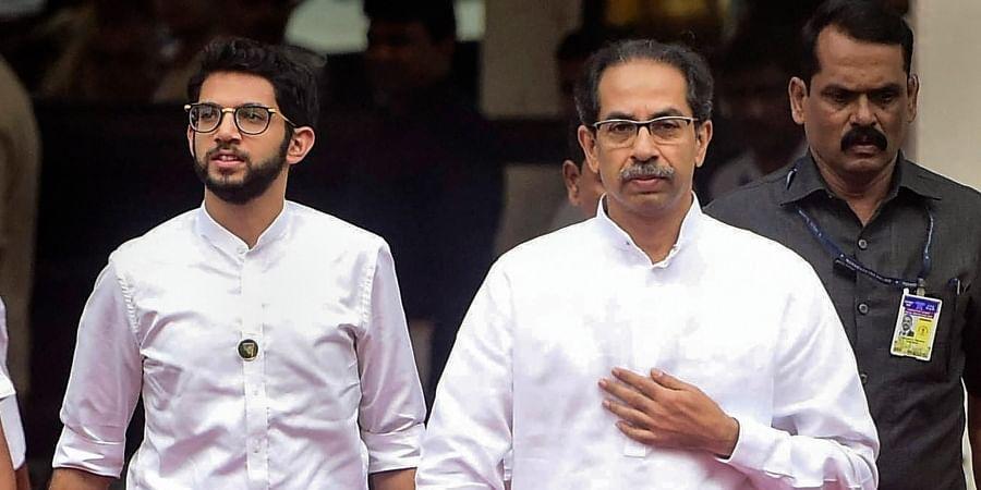 Maharashtra CM Uddhav Thackeray along with his son and minister Aaditya Thackeray arrives at the State Assembly in Mumbai Wednesday Jan. 8 2020. (Photo | PTI)