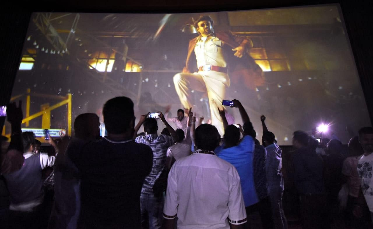 The excitement was evident as fans rejoiced when Thalaivar sizzled on screen during 'Darbar' screening in Mysuru.