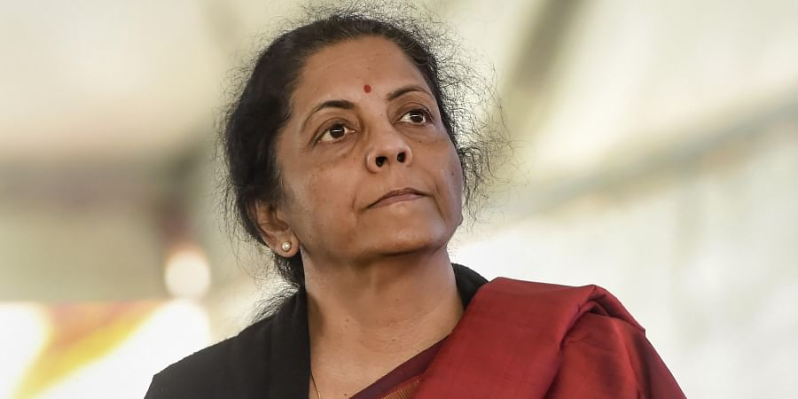 Union Finance Minister Nirmala Sitharaman during National Traders Convention at Ramlila ground in New Delhi Tuesday Jan. 7 2020. (Photo | PTI)