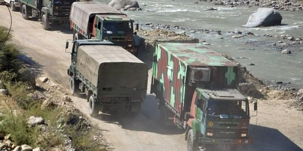 An army convoy carrying military material on its way to Ladakh amid border tension with China at Manali-Leh highway Wednesday Sept. 30 2020. (Photo | PTI)