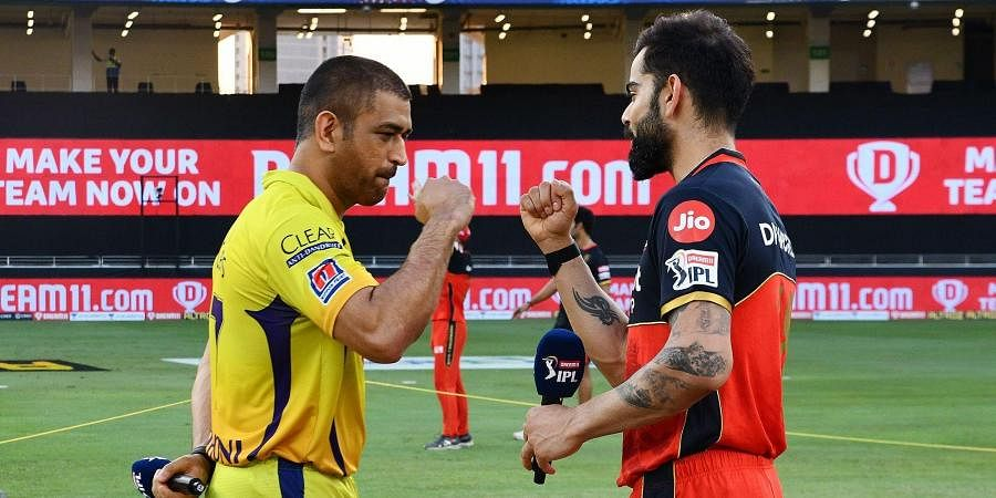 CSK Captain MS Dhoni and RCB Captain Virat Kohli wish eachother during toss ahead of the match