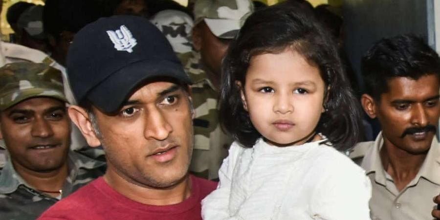 Former Indian captain MSDhoni with his daughter Ziva.