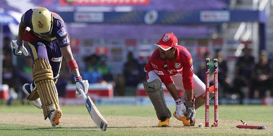 Shubman Gill of Kolkata Knight Riders run out during match 24 of season 13 of the Dream 11 Indian Premier League (IPL) between the Kings XI Punjab and the Kolkata Knight Riders