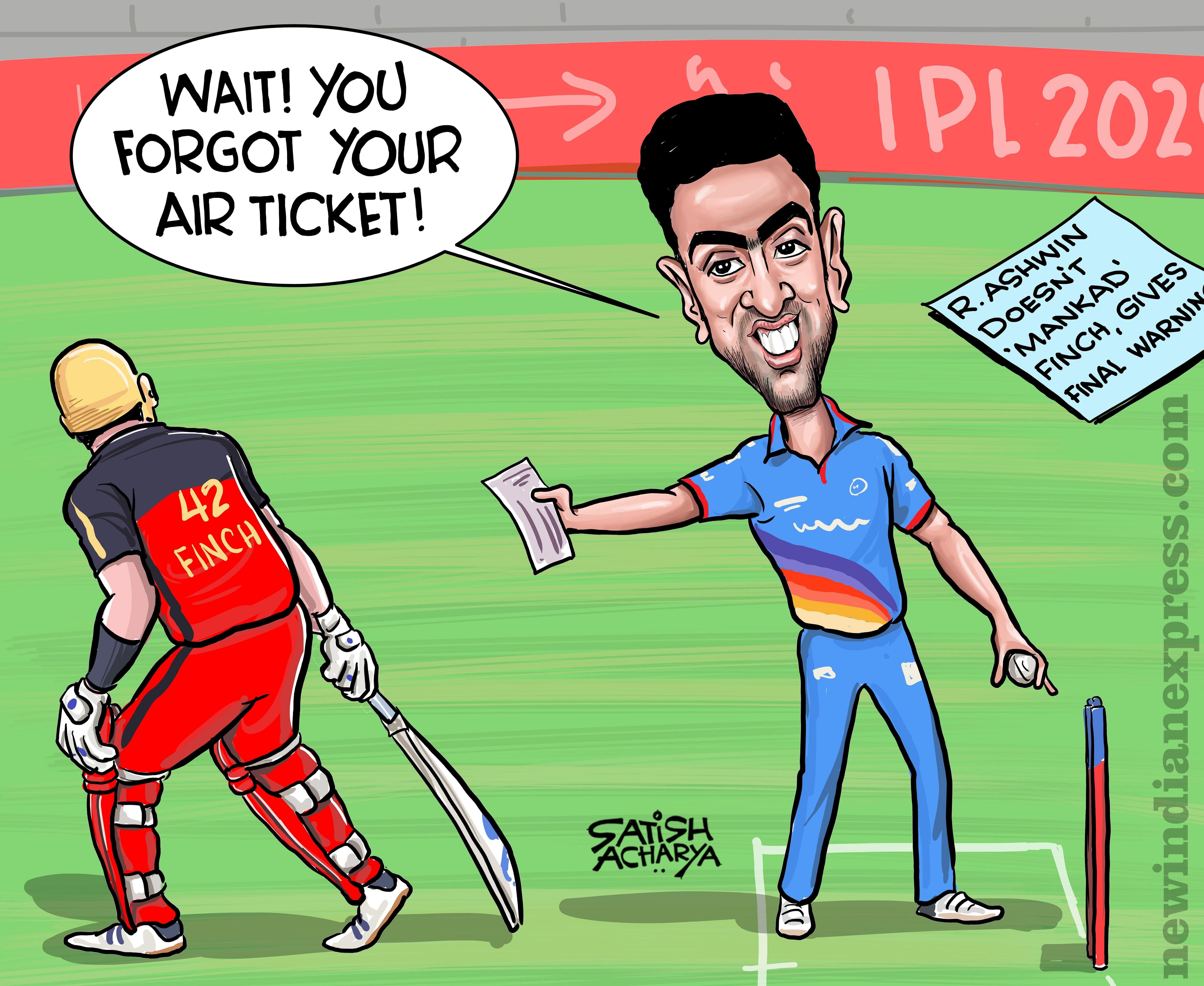 Cartoonist Satish Acharya gets creative after Ravi Ashwin's 'first and final warning' at IPL 2020.