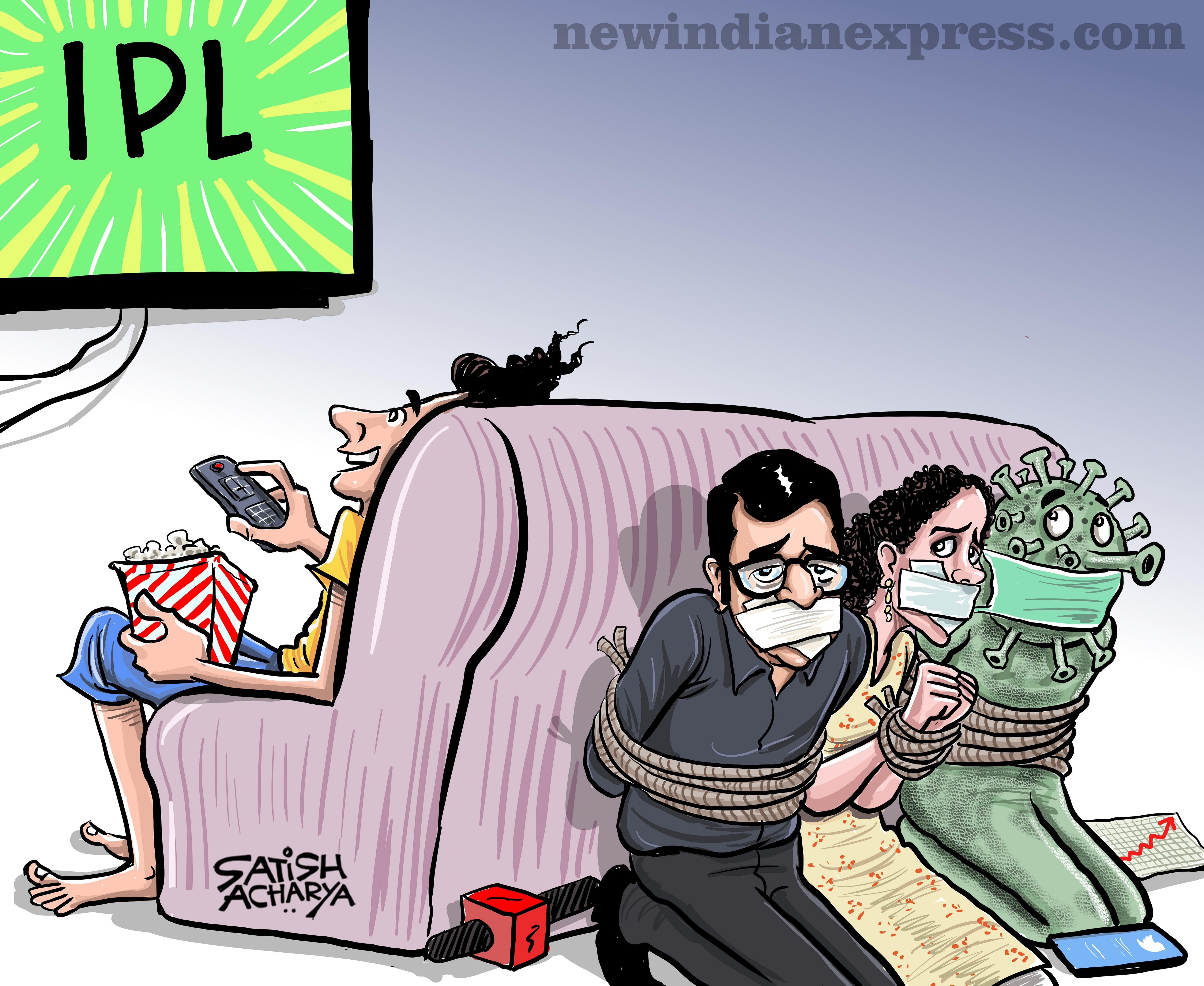 In the desert springs the IPL oasis. Our cartoonist Satish Acharya imagines the drawing-room revolution that this will unleash.
