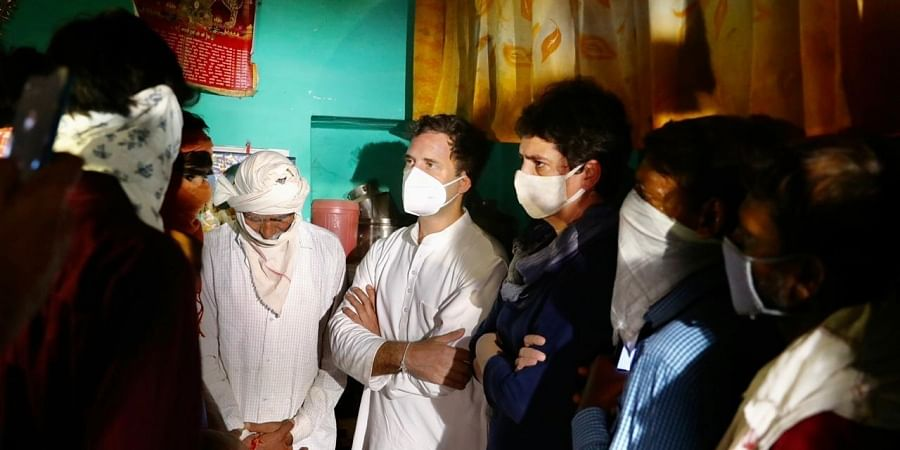Congress leader Rahul Gandhi and Priyanka gandhi meet Hathras gang rape victim family members in UP on Saturday.