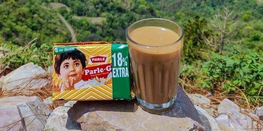 A photo of ParleG biscuits served with tea, posted by a Twitter fan.