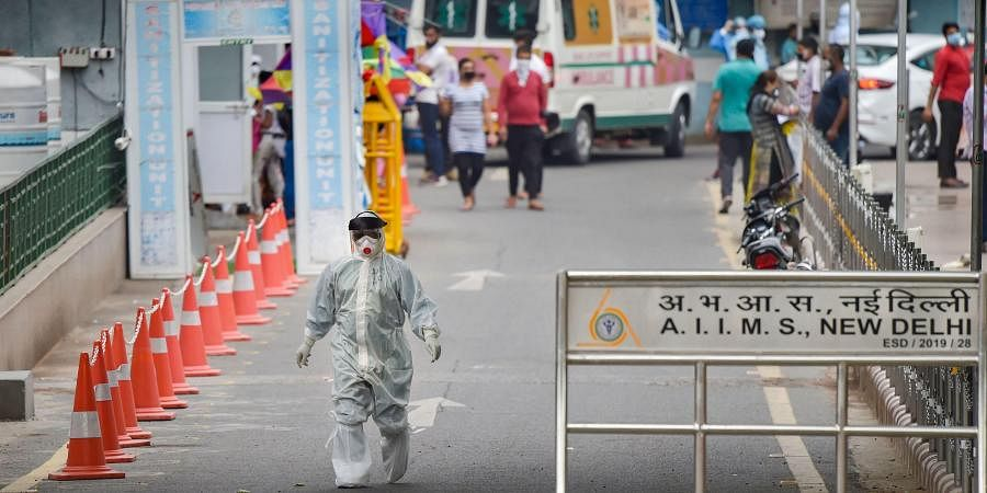 A medic wearing a PPE kit at AIIMS during the ongoing nationwide lockdown in New Delhi Thursday June 4 2020.