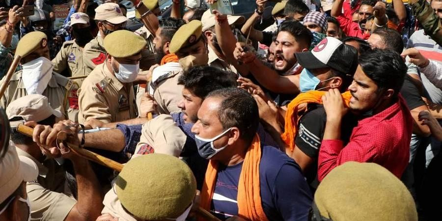 Rashtriya Bajrang Dal men raise slogans against 'derogatory remarks' by Jammu Kashmir National Conference President Farooq Abdullah regarding Article 370 in Jammu