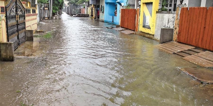 Roads at Anandbagh Colony flooded due to heavy rain on Tuesday.