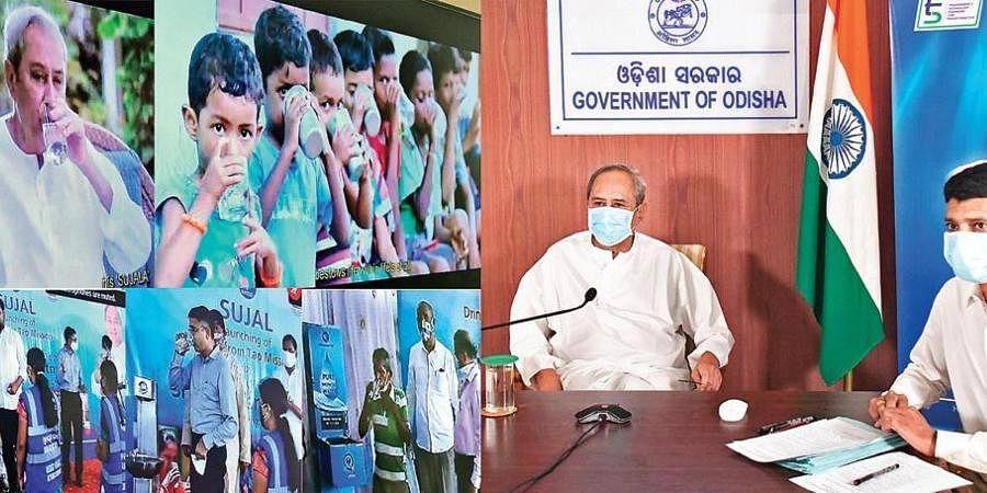 Odisha CM Naveen Patnaik launching Sujal through video conferencing.