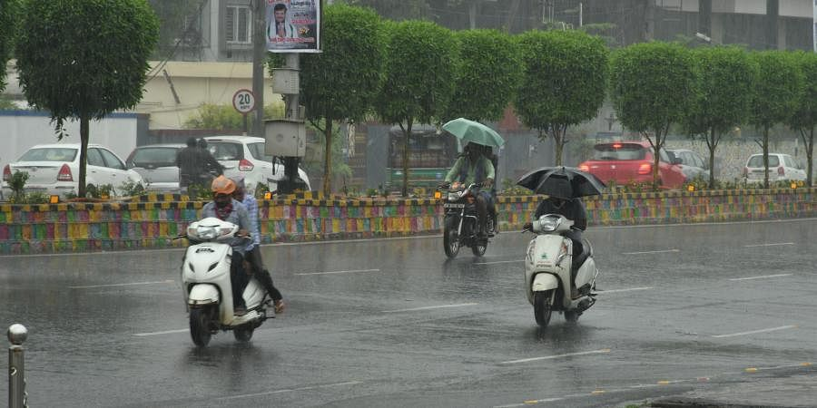 Andhra Pradesh City witnessed heavy rainfall due to deep depression in Bay of Bengal in Vijayawada on Tuesday.
