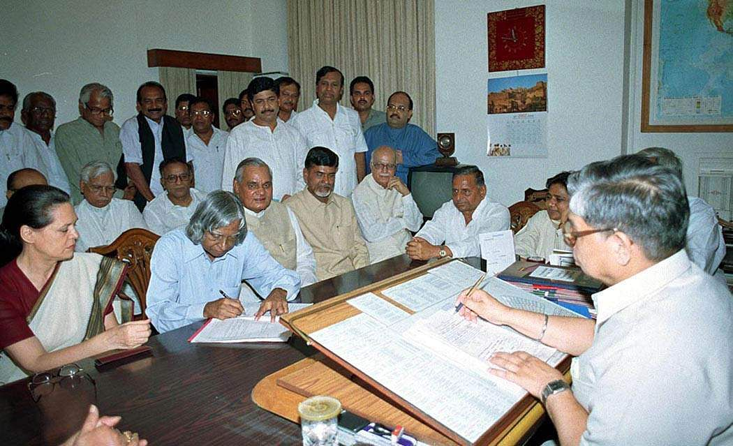 A P J Abdul Kalam filing his nomination papers for the Presidential Election in presence of the Prime Minister, Atal Bihari Vajpayee and the Leader of the opposition Sonia Gandhi along with other political leaders in New Delhi.
