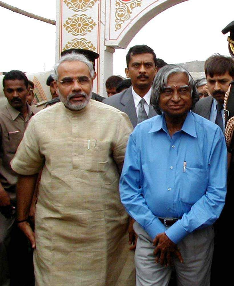 Then President A P J Abdul Kalam with then Gujarat Chief Minister Narendra Modi.