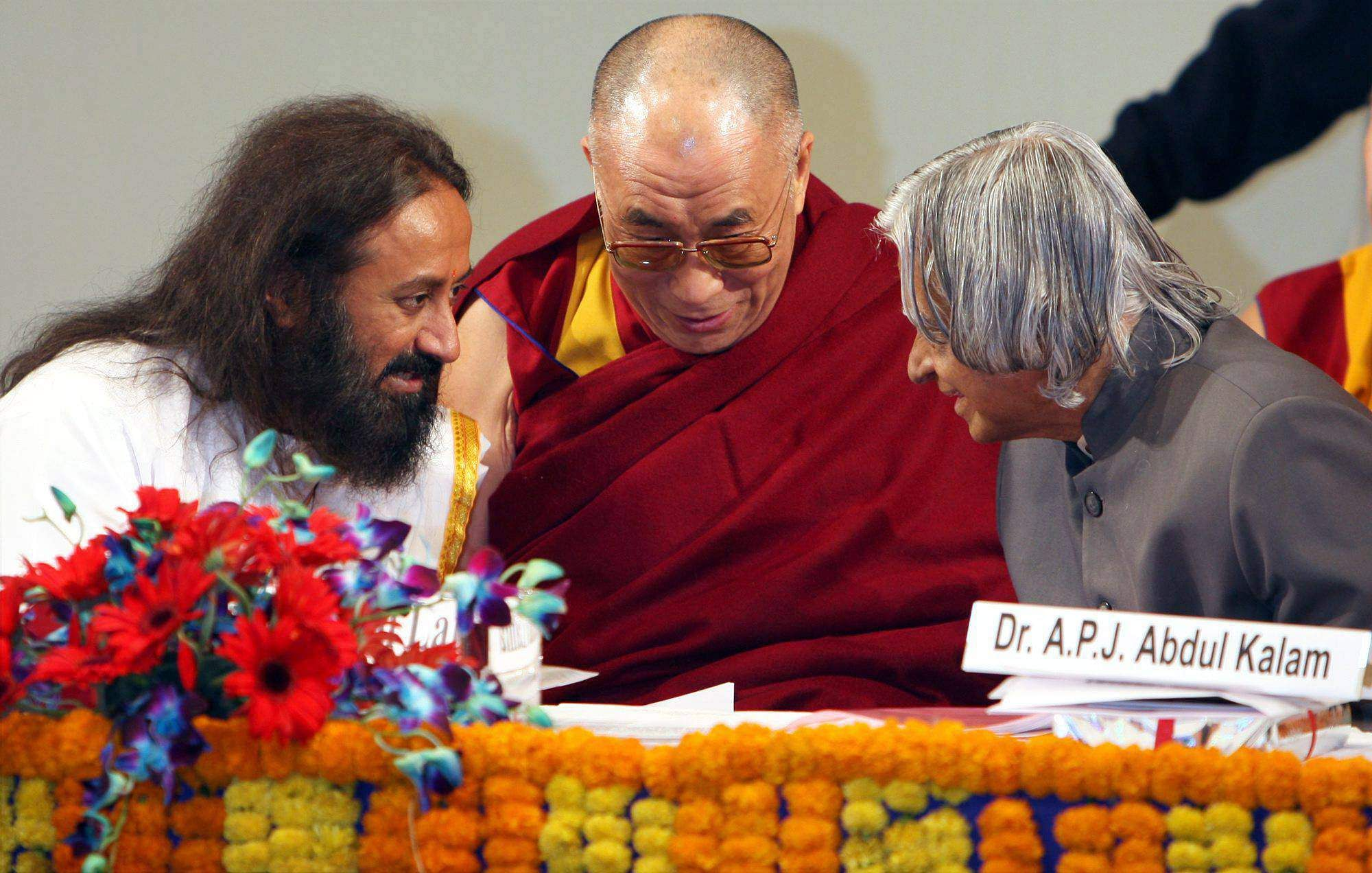 Tibetan Spiritual leader Dalai Lama, former President APJ Abdul Kalam and Founder of Art of Living Foundation Sri Sri Ravishankar share a moment at the launch of Global Foundation for Civilizational Harmony (India) at New Delhi in 2008.