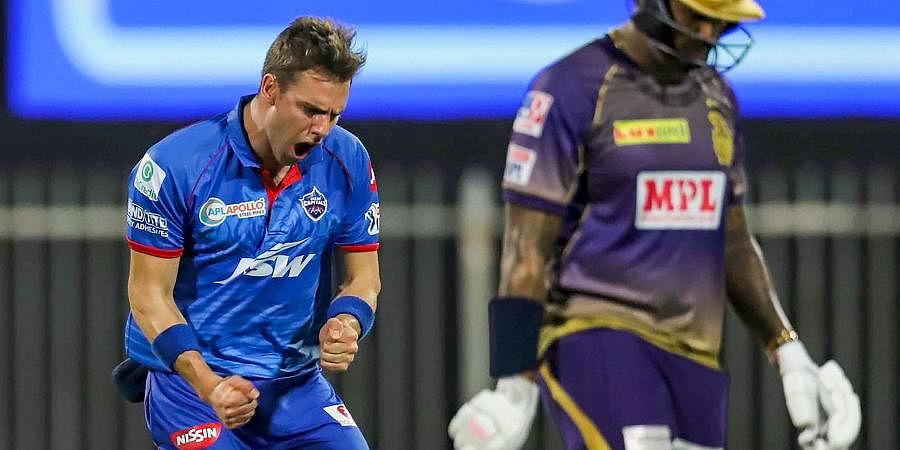Delhi Capitals pacer Anrich Nortje celebrates after the wicket of Kolkata Knight Riders player Sunil Narine during IPL 2020 match at Sharjah Cricket Stadium.